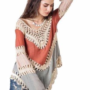 Tops - Boho style crochet long sleeve top