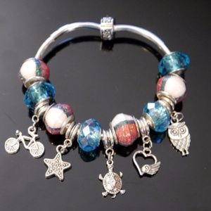 Stretch Bracelet European Charms and Paper Beads