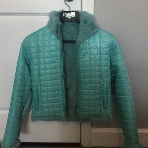 Reversible teal fur jacket