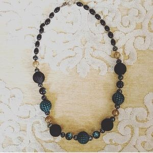 Jewelry - Black and Turquoise Beaded Necklace