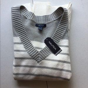 Nautica striped v-neck sweater