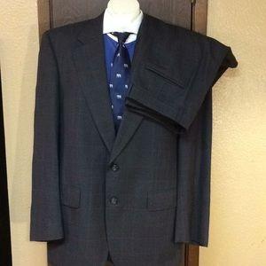 Vtg Burberry 2 Piece Windowpane Suit 42L 36x29.5