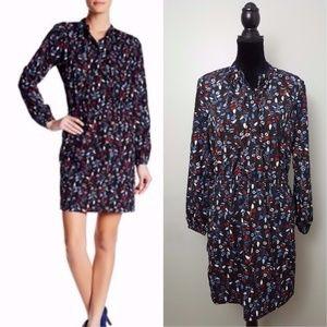 Joe Fresh Navy Blue Long Sleeve Floral Print Dress