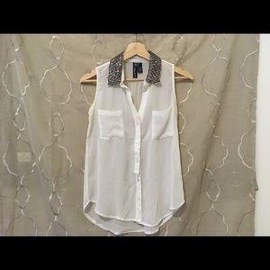 Sale! ❤️ Fun & Flirt White Sheer Top Beaded Collar