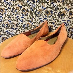 Adrienne Vittadini orange suede loafers