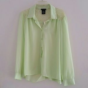 Metaphor lime green sheer long sleeves blouse
