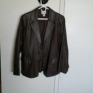Brown leather Chadwick's blazer size 14
