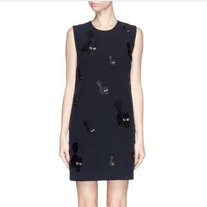 Black Cat Embroidery Shift Dress