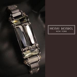 RARE henri bendel Leather Deco Strap Bracelet HTF