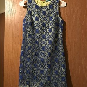 Pim + Larkin blue and lime embroidered shift dress