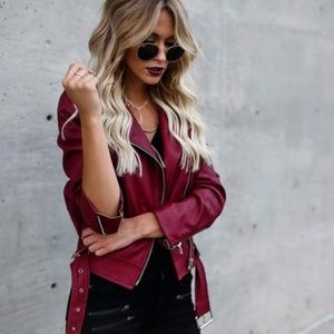 Faux Leather Moto Jacket - Red