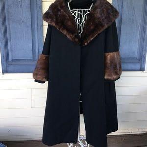 Vintage Forstmann Black & Brown Mink Cape Coat