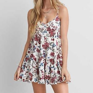 AEO Tiered Cream Floral Babydoll Dress