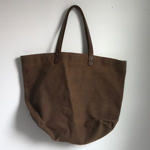 Handbags - STANLEY & SONS waxed canvas tote w/ leather strap
