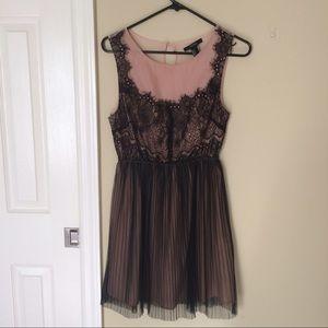 Pink & black lace formal dress