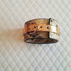 Henri Bendel Snakeskin & Rose gold cuff