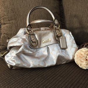 Coach Gold and Neutral Satchel Bag