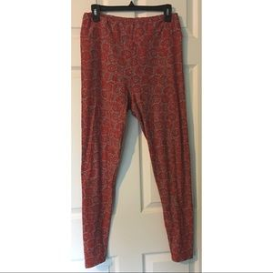 LuLaRoe TC Legging Tall Curvy Red Coral Turquoise