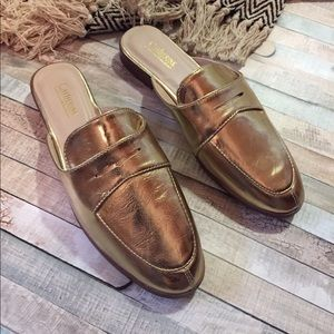 Catherine malandrino gold foil loafer slide