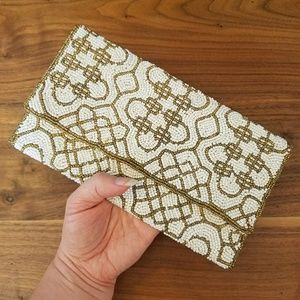 Cream & Gold Beaded Forever 21 Clutch Purse