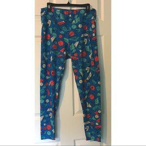 LuLaRoe TC Leggings Tall Curvy Blue Fruit Colorful