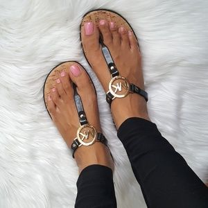 New Michael Kors Black & Gold Sandals!