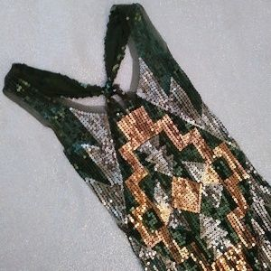 Sheer Green Copper Silver Sequins Racer Back Tank