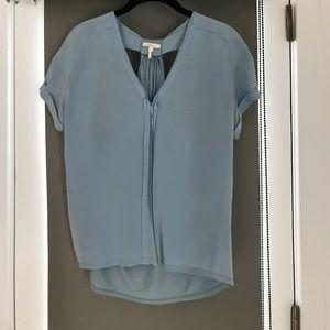 Maje baby blue silk/jersey blouse, 1