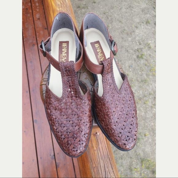 9c60d5d8c Ipanema Shoes | Vintage Woven Brazilian Leather T Strap Sandal ...