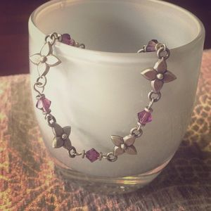 Jewelry - Silver and purple flower bracelet