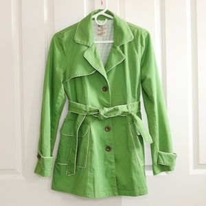 Tulle Belted Short Trench Coat Jacket Medium