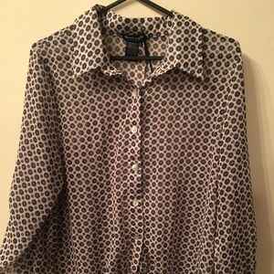 About a girl- button-down w/tie silky shirt