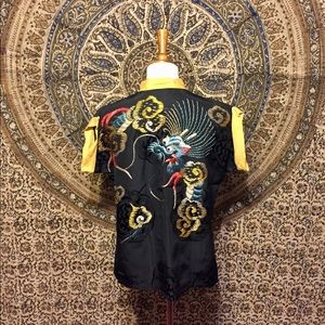 Tops - Vintage silk blouse with embroidered dragon
