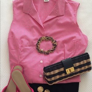 Tops - Bright pink small gingham sleeveless blouse