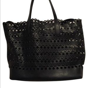 Street Level faux leather perforated tote