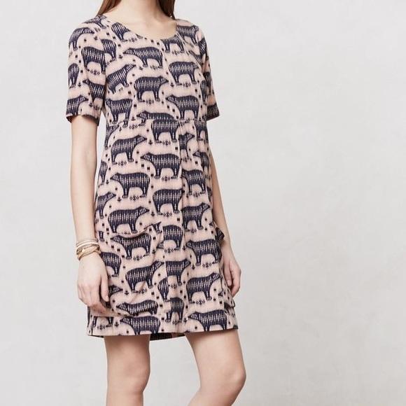 Anthropologie Dresses Anthro Bear Print Zola Dress Poshmark