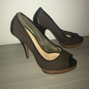Authentic Gorgeous Longchamp cut out brown heels
