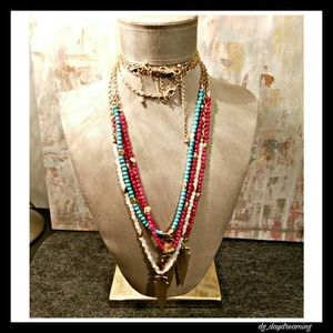 Jewelry - Chain and pink beaded necklace
