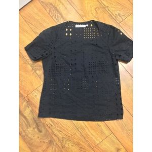 See by Chloe black eyelet square neck blouse