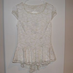 White/gold floral peplum top