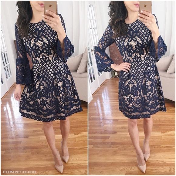 0b4ac37d457f Eliza J Dresses & Skirts - Eliza J Navy Lace Bell Sleeve dress