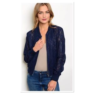 Navy Lace Bomber Jacket