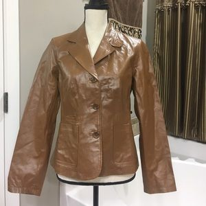 Brown fitted leather jacket