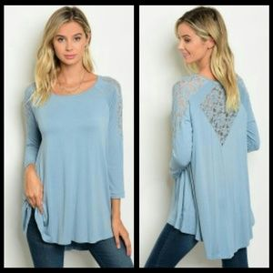 Tops - LIGHT BLUE LACE INSET TOP