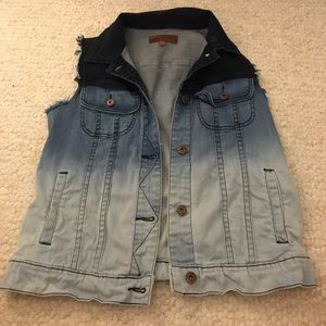 Dip-dyed denim vest