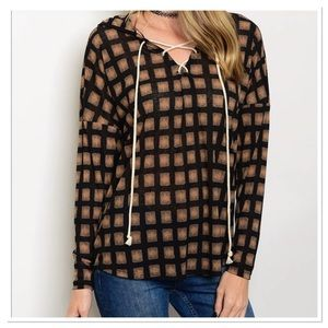 Black & Tan Lace Up Tunic