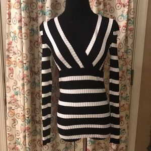 Macy's INC Black & White Striped Small Sweater