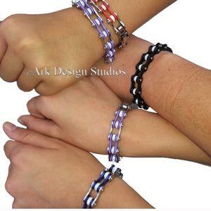 Jewelry - Bike Chain Rhinestone Bracelet Black & Silver