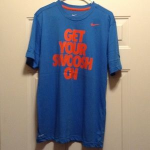 Men's Blue and orange Nike dri- fit tee size Large