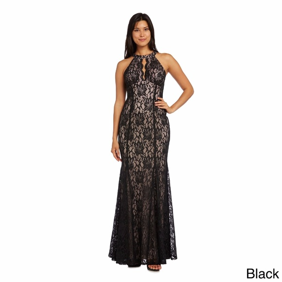 6a69cc8c89c31 Nightway Lace Keyhole Halter Gown Black Nude